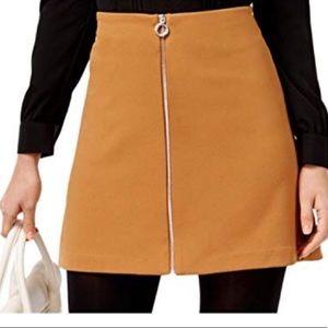 ECI Brown Zipper Front Mini Skirt Size XL Tan